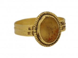 Ancient Roman Cupid intaglio ring berganza hatton garden