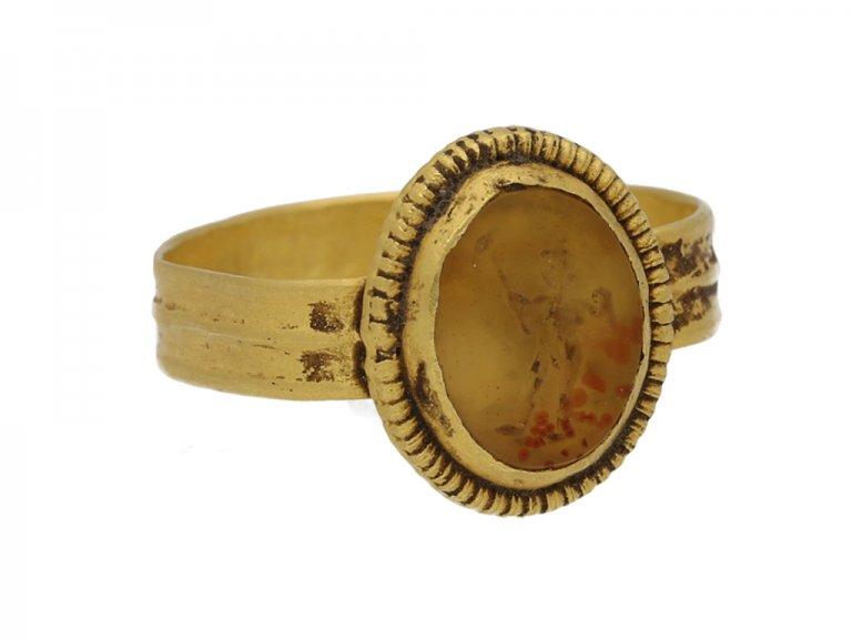 Ancient Roman Cupid intaglio ring berganza hatton garden