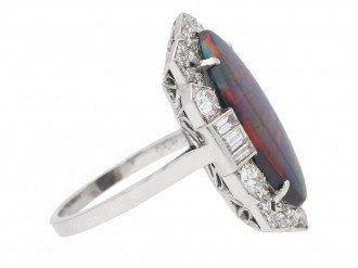 Art Deco black opal diamond ring berganza hatton garden