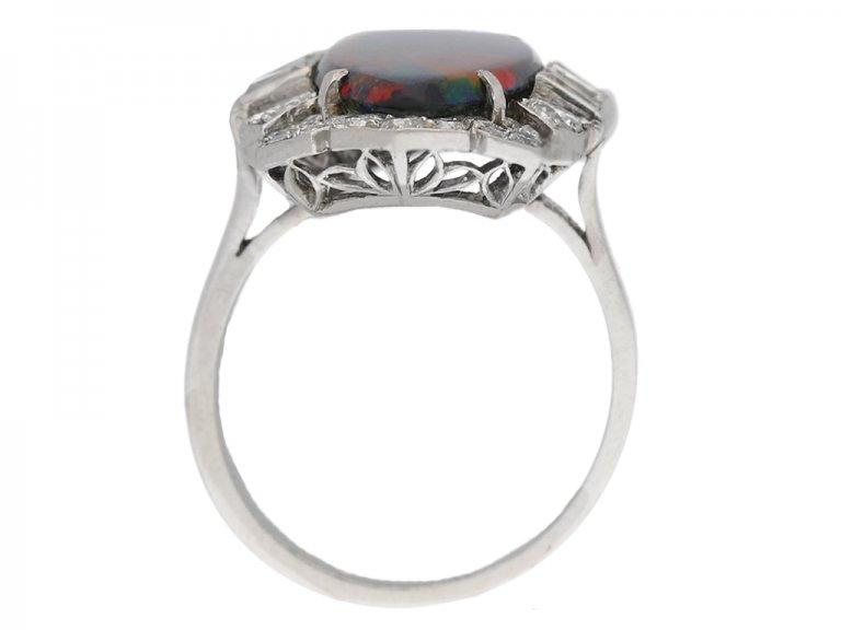 Art Deco black opal diamond ring berganza hatton garden