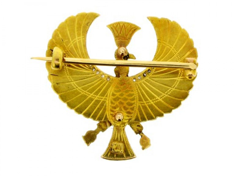back view Egyptian revival brooch.