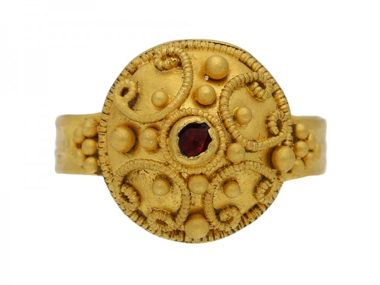 Ancient Roman ring with ornate gold work circa 4th Century AD.berganza hatton garden