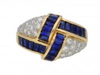 Oscar Heyman Brothers sapphire and diamond ring, American, circa 1970. berganza hatton garden