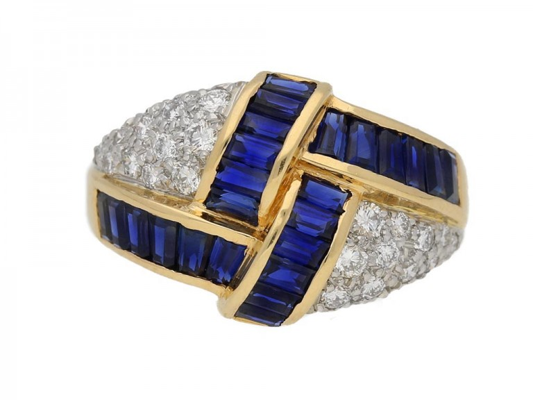 Oscar Heyman Brothers sapphire and diamond ring, American, circa 1970. berganza hatton garden