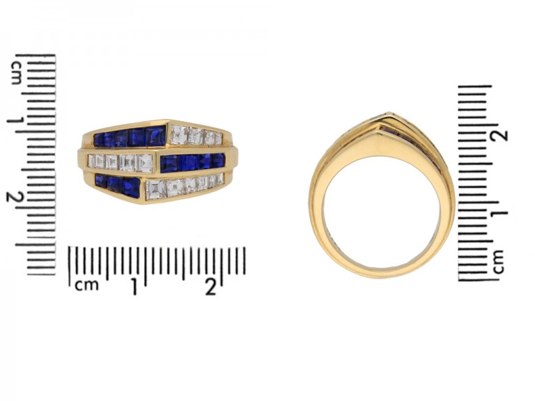 size view Oscar Heyman Brothers sapphire and diamond ring, American, circa 1960.berganza hatton garden