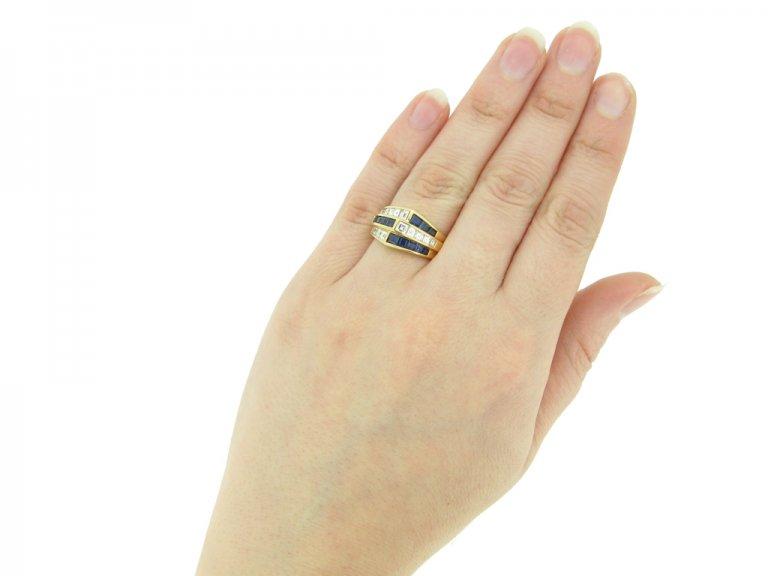 hand view Oscar Heyman Brothers sapphire and diamond ring, American, circa 1960.berganza hatton garden