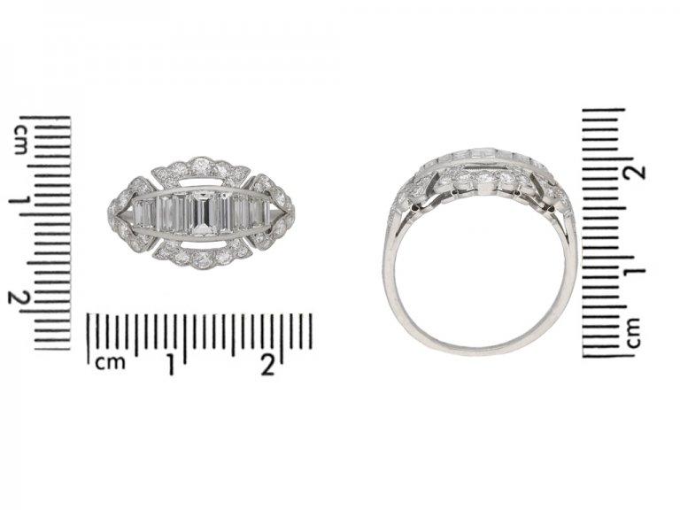 Art Deco baguette and round diamond ring, circa 1930. berganza hatton garden