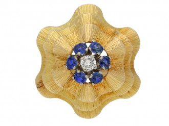 front view Sapphire and diamond ballerina ring in yellow gold, circa 1960.berganza hatton garden