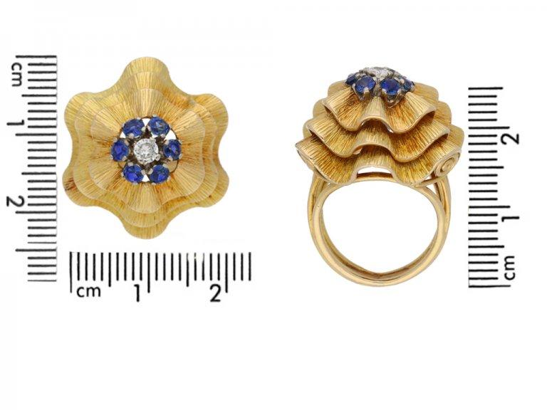 side view Sapphire and diamond ballerina ring in yellow gold, circa 1960.berganza hatton garden