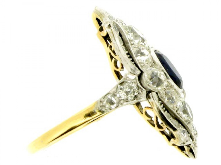 side veiw Edwardian sapphire and diamond ring in platinum and gold, circa 1910.