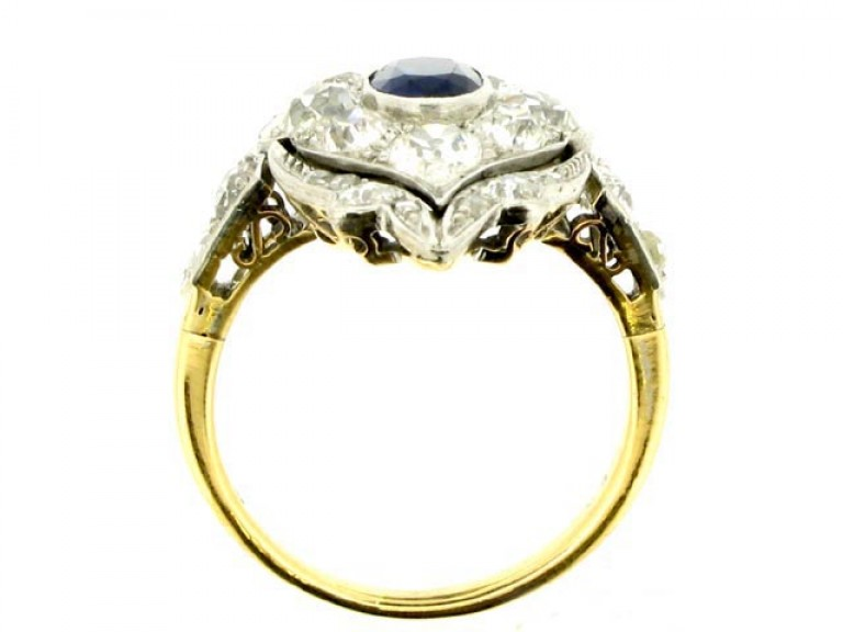 back view Edwardian sapphire and diamond ring in platinum and gold, circa 1910.