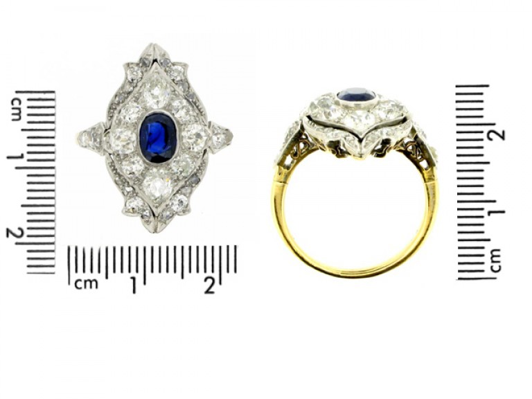 sze view Edwardian sapphire and diamond ring in platinum and gold, circa 1910.