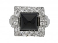 front view art deco diamond onyx vintage ring hatton garden berganza