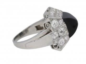 front view art deco diamond onyx vintage ring hatton garden berganza