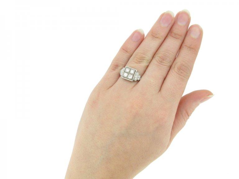hand view Art Deco diamond ring, French, circa 1935 berganza hatton garden