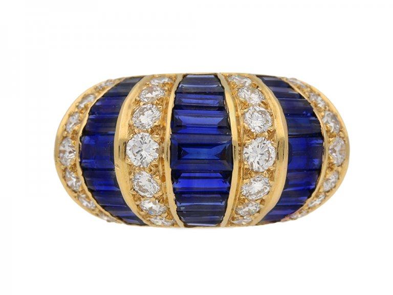 Oscar Heyman Brothers sapphire baguette and diamond ring, American, circa 1960. berganza hatton garden