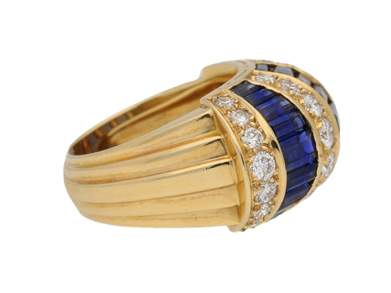 side view Oscar Heyman Brothers sapphire baguette and diamond ring, American, circa 1960. berganza hatton garden