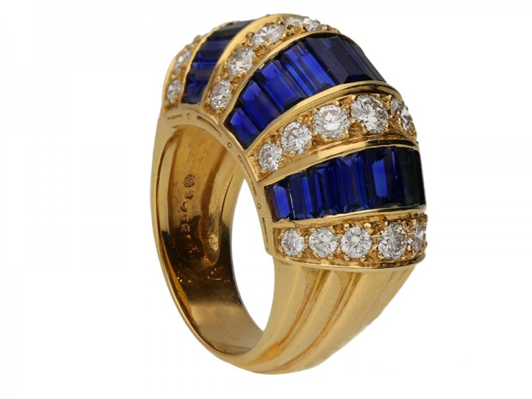 side Oscar Heyman Brothers sapphire baguette and diamond ring, American, circa 1960. berganza hatton garden