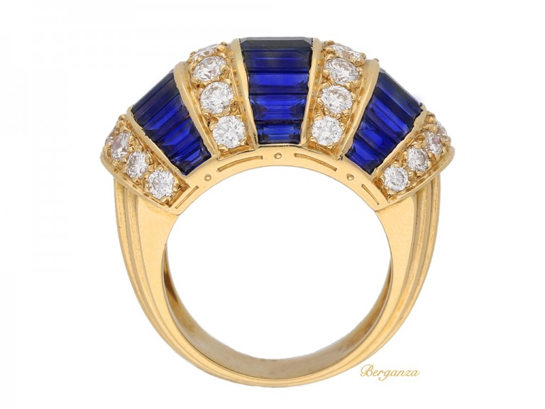 back view Oscar Heyman Brothers sapphire baguette and diamond ring, American, circa 1960. berganza hatton garden
