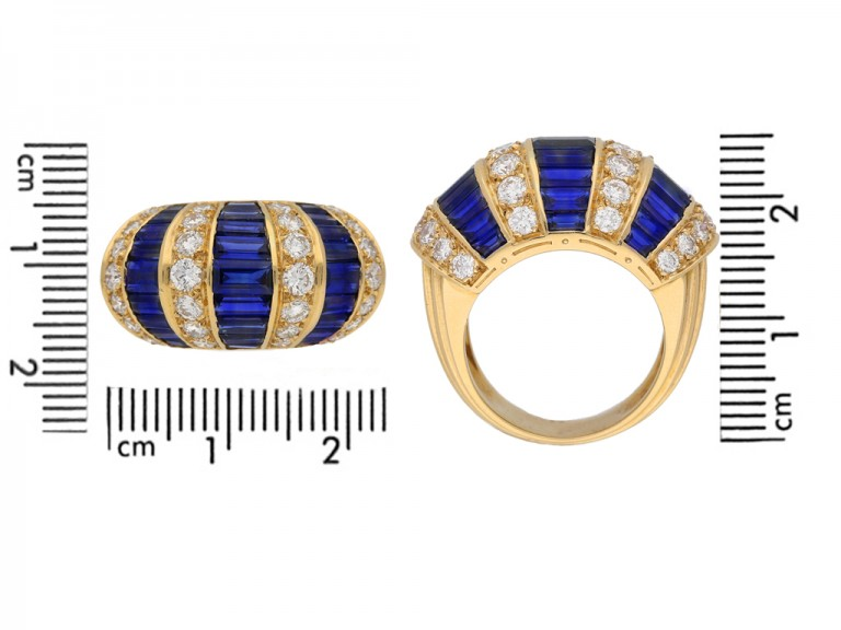 size view Oscar Heyman Brothers sapphire baguette and diamond ring, American, circa 1960. berganza hatton garden