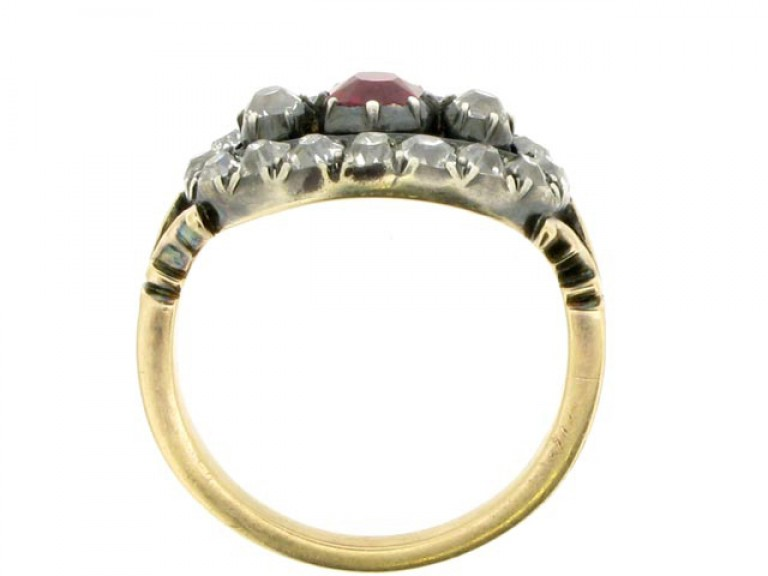 Antique ruby and diamond saddle ring, circa 1870. berganza hatton garden
