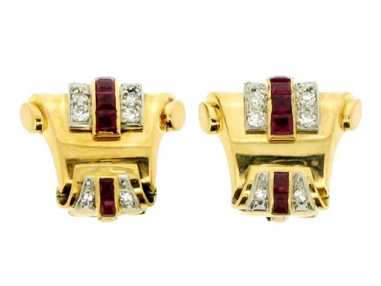 front view Pair of ruby and diamond earrings, circa 1945.