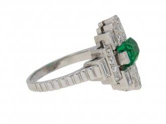 Art Deco emerald diamond ring berganza hatton garden