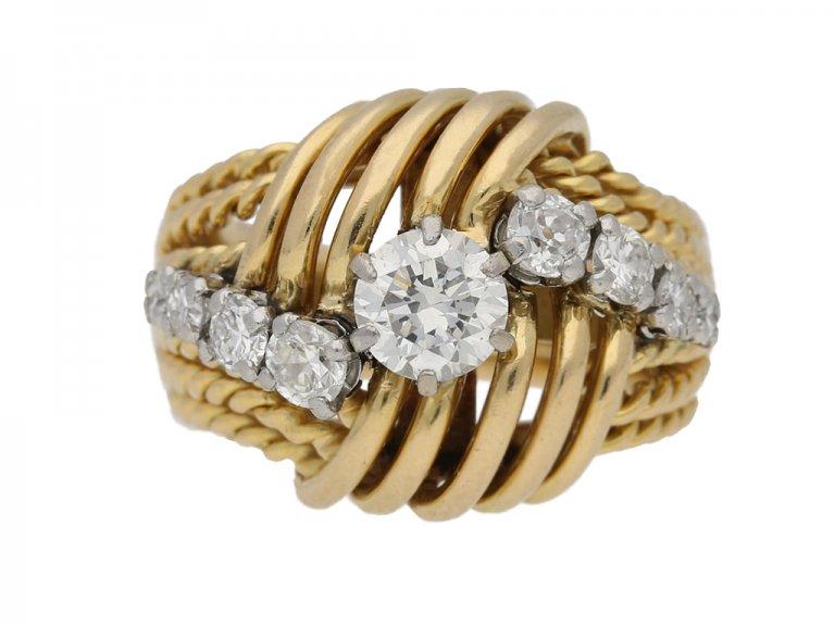 Vintage diamond bombé ring berganza hatton garden
