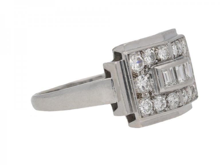 side view Art Deco diamond ring, French, circa 1935. berganza hatton garden