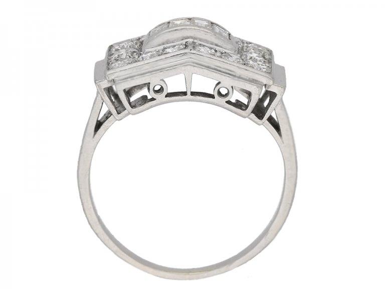back view Art Deco diamond ring, French, circa 1935. berganza hatton garden