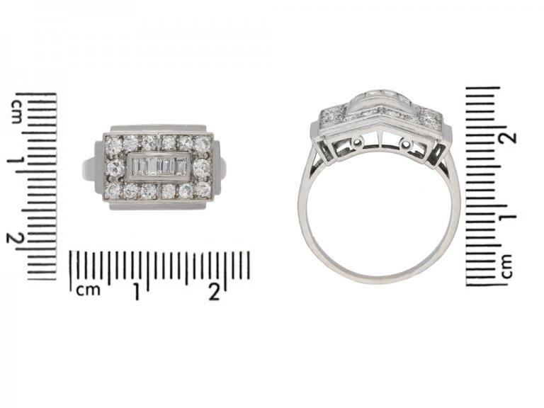 size view Art Deco diamond ring, French, circa 1935. berganza hatton garden