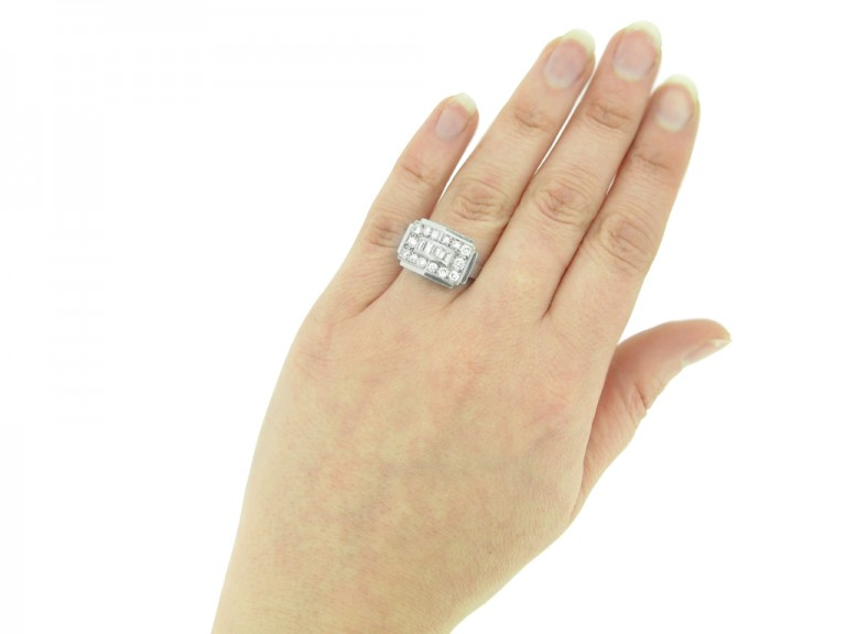 hand view Art Deco diamond ring, French, circa 1935. berganza hatton garden