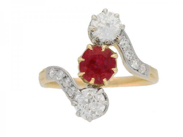 Art Nouveau Burmese ruby diamond ring berganza hatton garden