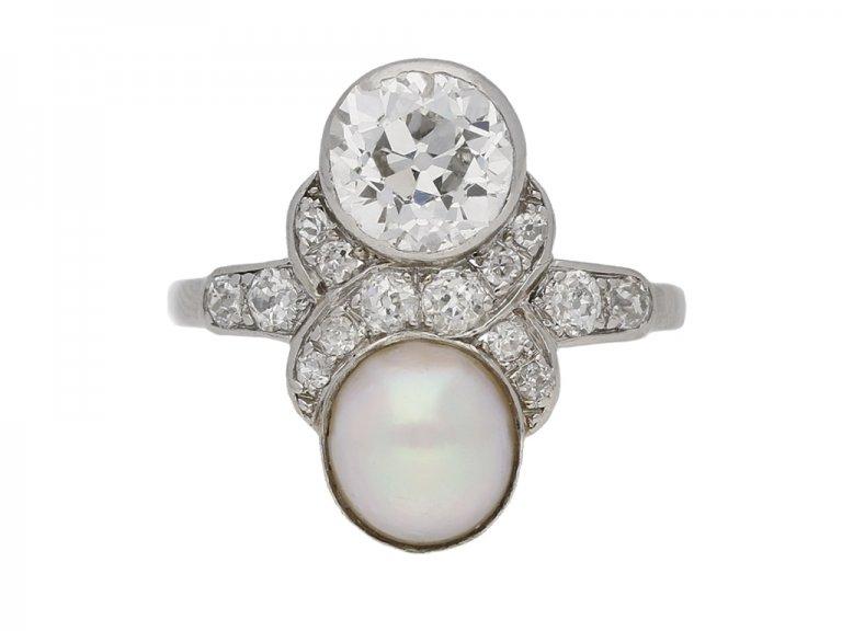 art deco pearl diamond ring berganza hatton garden