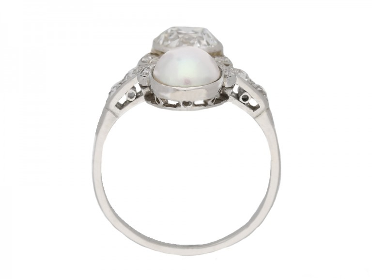 back view art deco pearl diamond ring berganza hatton garden