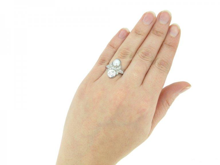 hand view art deco pearl diamond ring berganza hatton garden