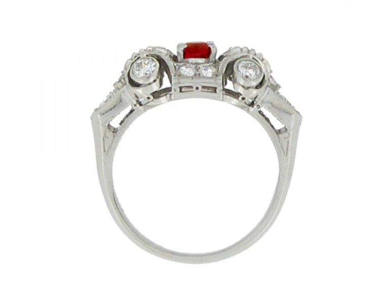 back view Ruby and diamond cluster ring, circa 1950.