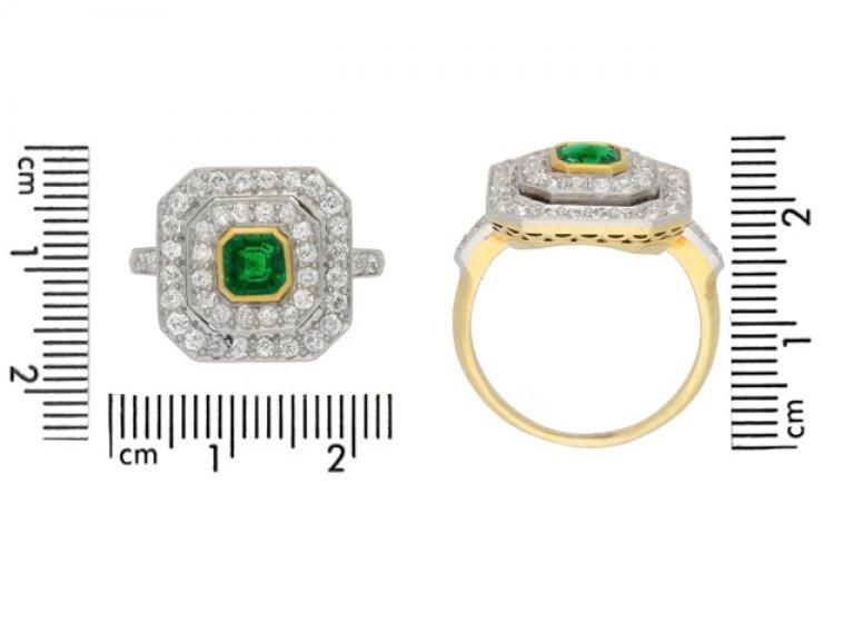 Antique emerald diamond cluster ring berganza hatton garden