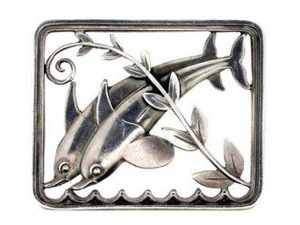 Georg Jensen sterling silver dolphin brooch.