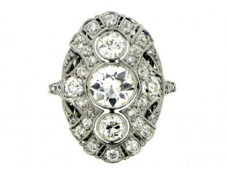 front view Diamond cluster ring, circa 1920.