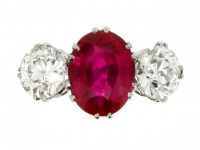 front view Natural Burmese ruby and diamond ring, circa 1915.