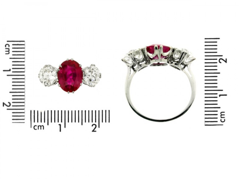 size view Natural Burmese ruby and diamond ring, circa 1915.
