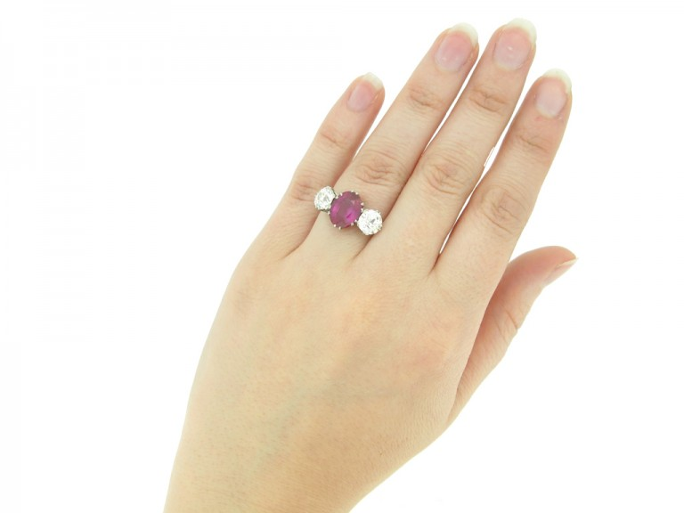 hand veiew Natural Burmese ruby and diamond ring, circa 1915.