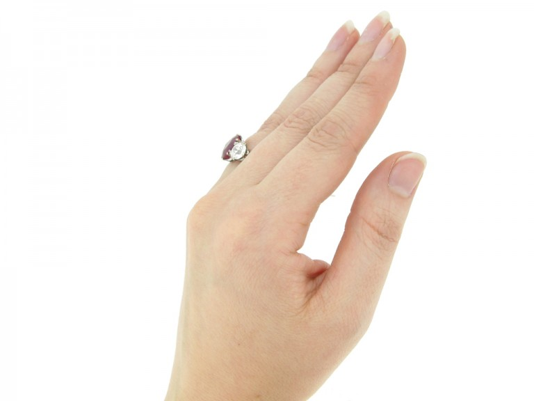hand view Natural Burmese ruby and diamond ring, circa 1915.