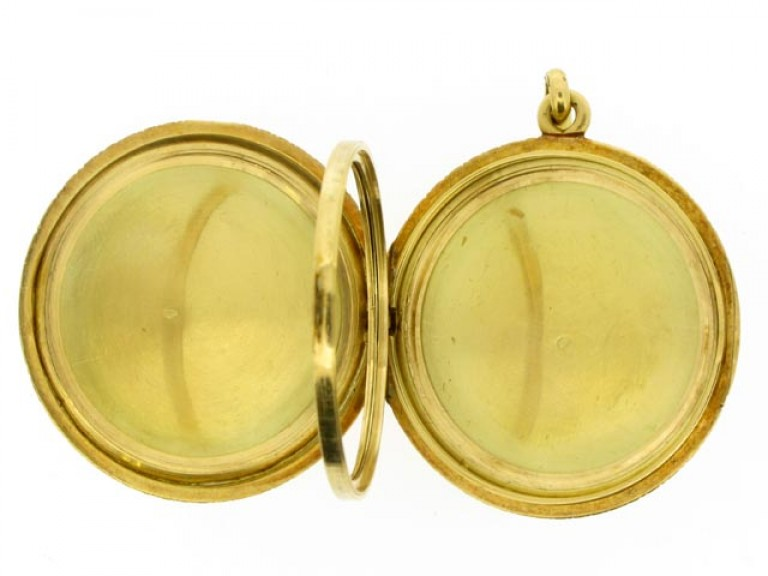open view Antique three picture gold locket, French circa 1900.