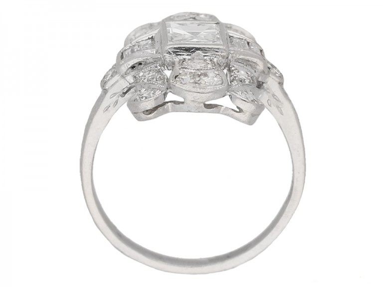back view Vintage diamond cluster ring, American berganza hatton garden