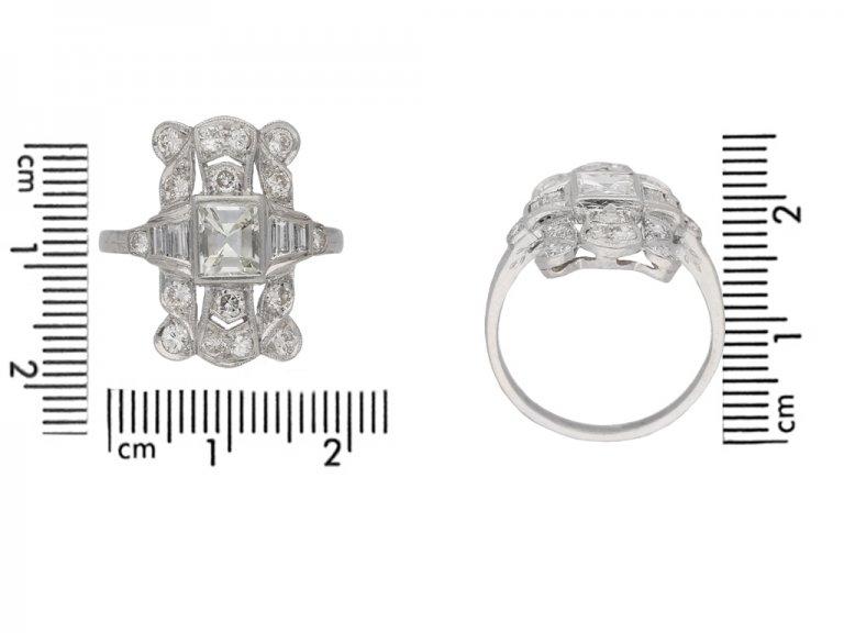size voew Vintage diamond cluster ring, American berganza hatton garden