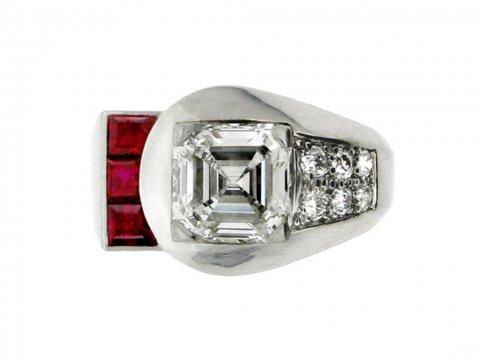 vintage Yard diamond ruby ring berganza hatton garden
