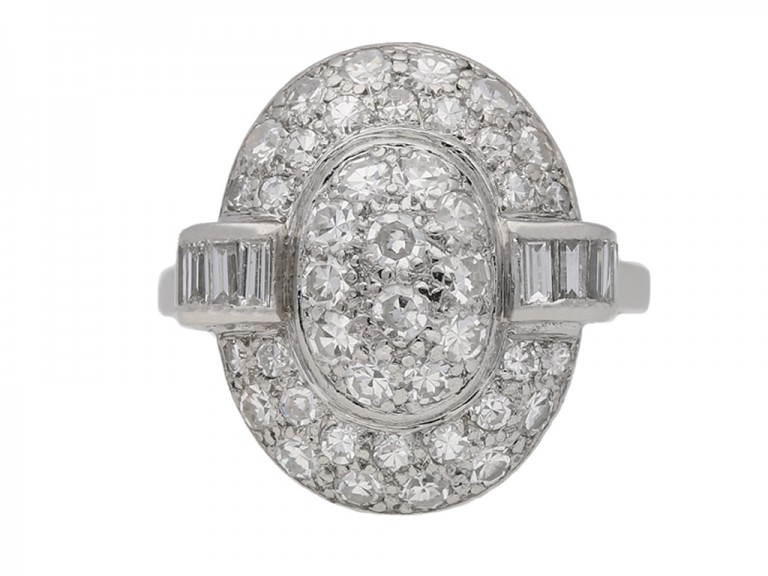 Vintage oval diamond cluster ring berganza hatton garden