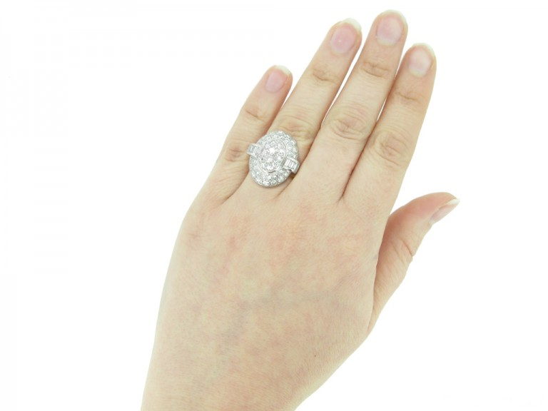 hand view Vintage oval diamond cluster ring berganza hatton garden